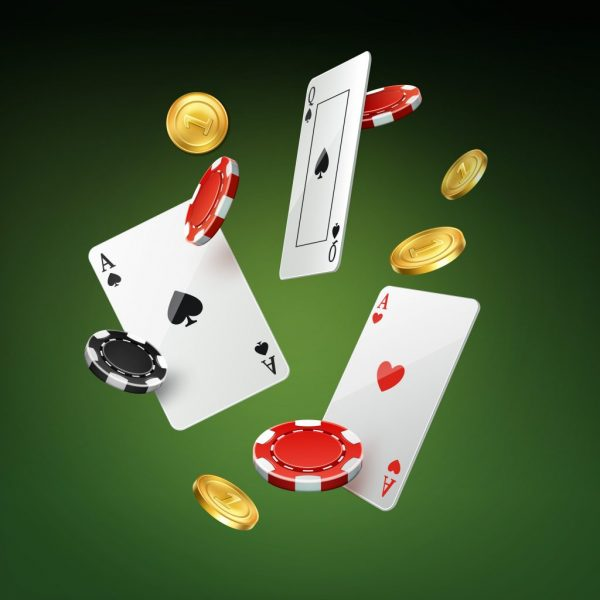 Falling cards, coins and chips
